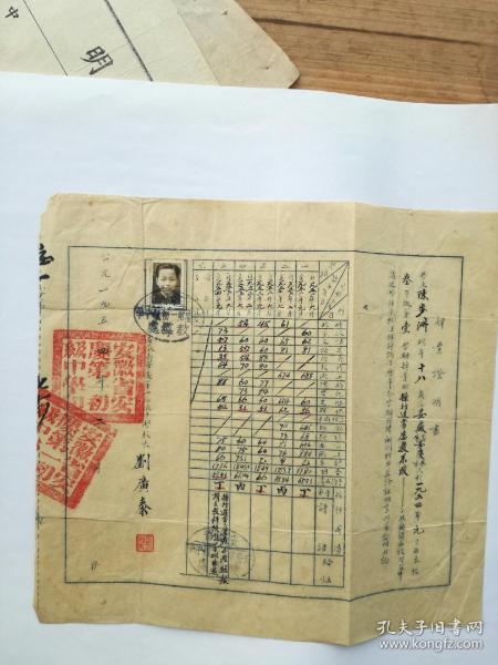 安庆市第一初中陈姓学生《肄业证明书》