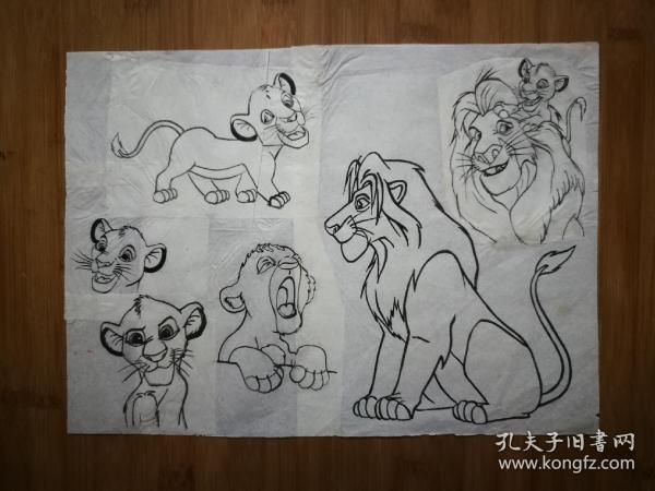 ●九十年代原始画稿:《狮子王》【尺寸30X20公分】!
