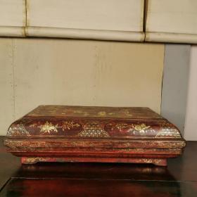 回流精美大漆描金木质果盒漆器捧盒