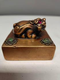 珍藏黄铜镶嵌红绿宝宝石广运之宝招财古兽印章书房闲章摆件