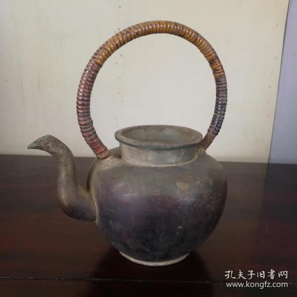 带款锡茶壶晚清民国老锡壶锡酒壶提梁壶