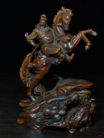 黄杨木雕骑马关公15x9.5