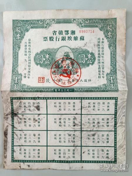 湘鄂赣省 苏维埃银行股票(壹圆)