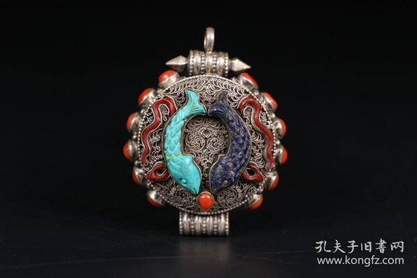 藏传佛教 老银嘎乌盒