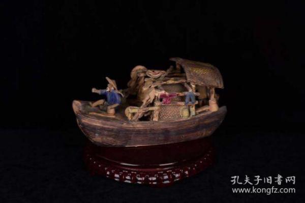 民国 石湾窑瓷雕渔家乐渔舟