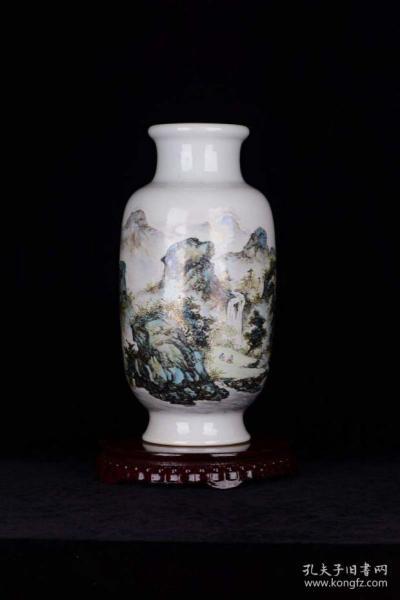 民国 珠山八友汪野亭绘于平山草堂粉彩山水纹灯笼瓶
