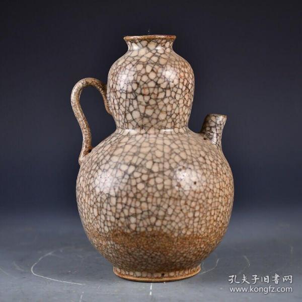 宋哥窑冰片葫芦壶 直径15厘米 高21厘米