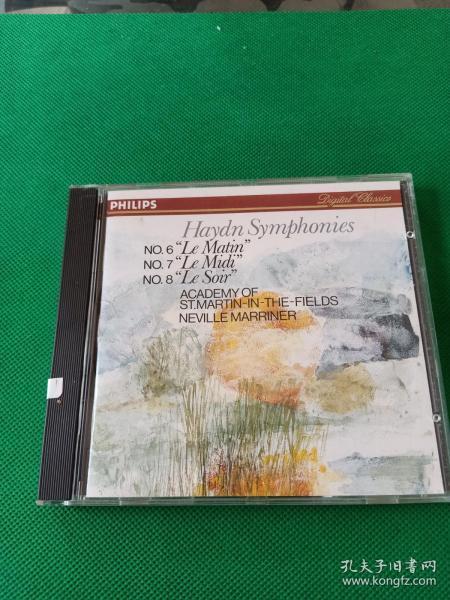外版CD,海顿- D大调第6交响曲《早晨》,C大调第七交响曲《中午》,G大调第8交响曲《夜》。由圣马丁乐团演奏,该乐团历史并不长,到现在还不到60年,但却是世界顶级乐团之一。内维尔·马里纳爵士指挥,他是英国著名的的指挥家和小提琴家。飞利浦金线品质,DG西德PDO满银圈,编号411 441-2。