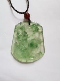 民国时期   翡翠A货   飘阳绿 近玻璃种  喜鹊登梅挂坠完美品