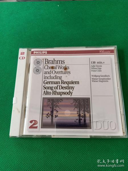 企鹅评价三星保留一星,外版2CD  布拉姆斯的《德意志安魂曲》该专辑还涵盖了他的《命运之歌》,《大学典礼序曲》,《悲剧序曲》,《女低音狂想曲》等。由德国著名指挥家沃尔夫冈·萨瓦利希指挥,维也纳交响乐团演奏。飞利浦小双张,德国首版生产,,编号438 760-2.