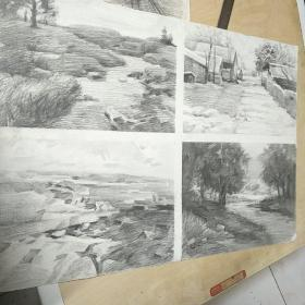素描风景,四幅