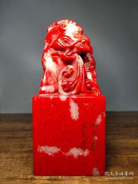 珍藏鸡血石纯手工雕刻招财麒麟古兽玉玺印章书房闲章摆件