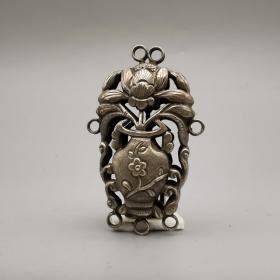老银器手工錾刻富贵满堂图镂空纯银挂坠