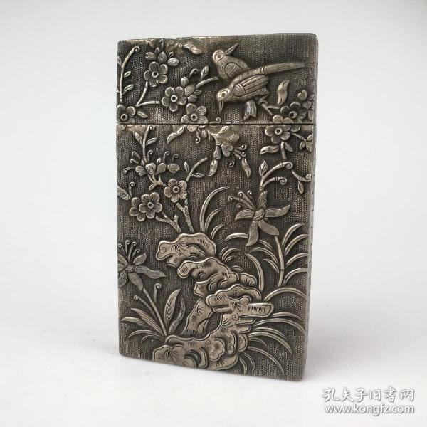 老银器纯手工錾刻纯银喜上眉梢银盒戏剧人物老物件可作名片盒包邮