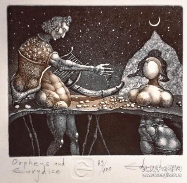 保加利亚 爱德华.潘可夫Edward Penkov 版画藏书票原作1精品收藏