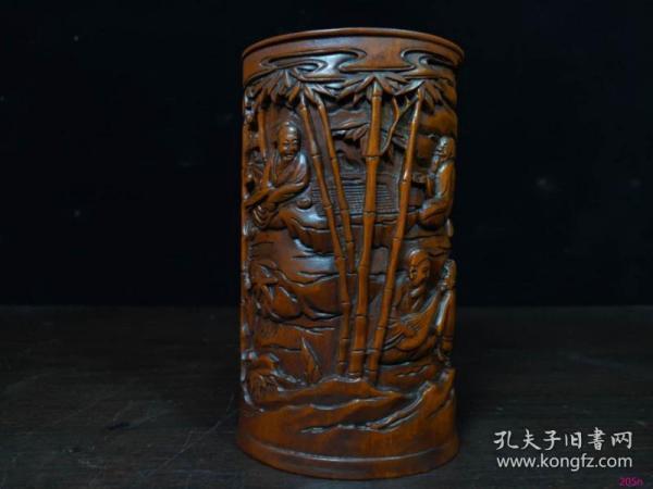 黄杨木雕竹林七贤笔筒14x8.5