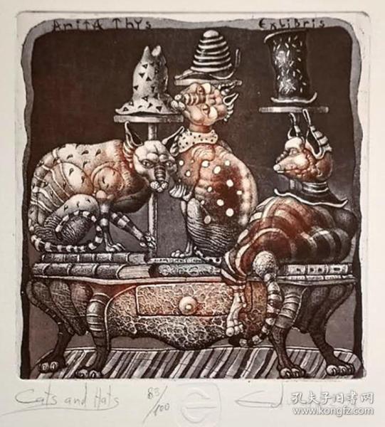 保加利亚 爱德华.潘可夫Edward Penkov 版画藏书票原作2精品收藏