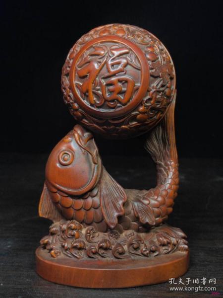 黄杨木雕富裕13x8
