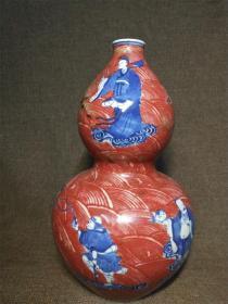 釉里红八仙过海葫芦瓶