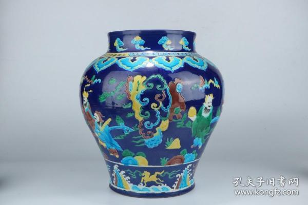 法华彩人物故事瓷罐