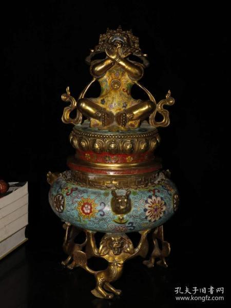 珍藏纯铜厚胎景泰蓝手工掐丝珐琅彩大号金刚炉熏香炉摆件