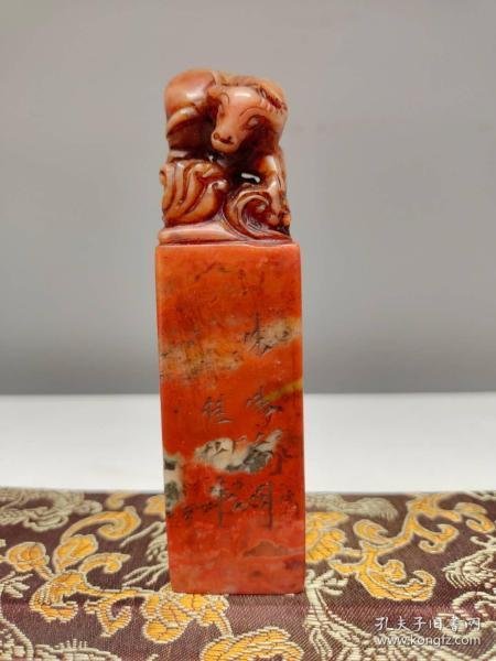 天然老挝寿山石俏色巧雕牛气冲天生肖牛玉玺印章书房闲章摆件