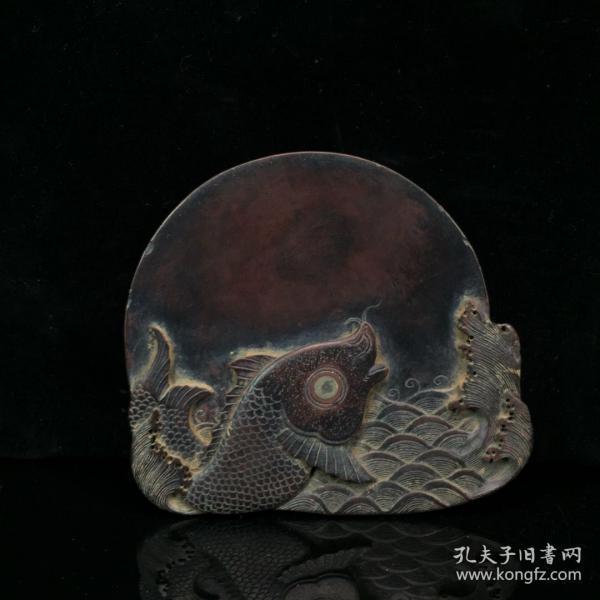 wj0889旧藏 紫端石鱼乐图文房砚