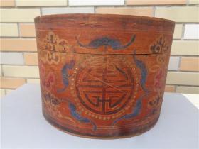 清代木雕彩绘五福捧寿纹大帽盒子