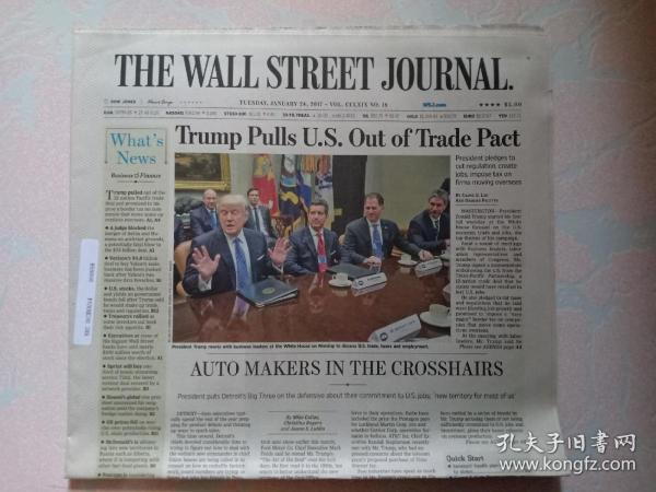 THE WALL STREET JOURNAL 华尔街日报 2017/01/24  外文原版报纸 装饰道具