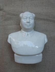 毛主席半身像(纯白玉透)琉璃塑像