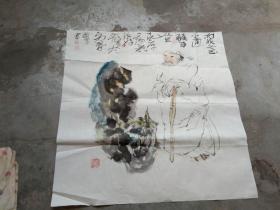 国芳国画作品;人与石[69x68]