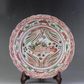 红绿彩鱼草纹瓷盘