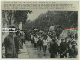 1967年美联社新闻传真照片,北京街头红卫兵,批斗卡车。