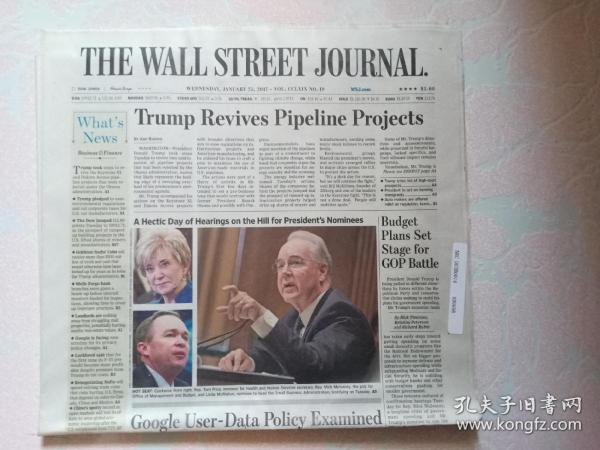 THE WALL STREET JOURNAL 华尔街日报 2017/01/25  外文原版报纸 装饰道具