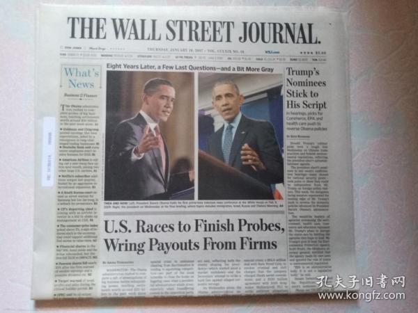 THE WALL STREET JOURNAL 华尔街日报 2017/01/19  外文原版报纸 装饰道具
