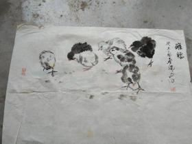 国芳国画作品;雏鸡[69x46]