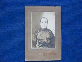 民国丰镇华美照相馆装饰照----穿绸缎的贵妇(装饰底框21*14cm)