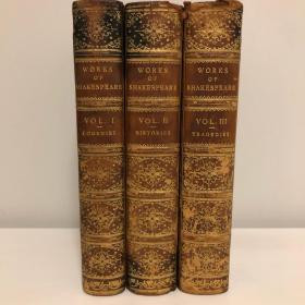 19世纪古董书 威廉莎士比亚作品集3卷本