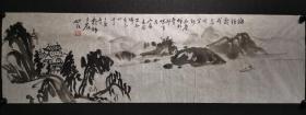 圆林法师国画一幅 山水精品,尺寸117*35厘米,保真!