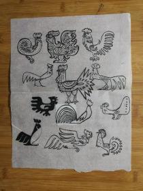 ●八十年代原始画稿:装饰图案《金鸡》佚名【尺寸40X20公分】!