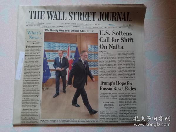 THE WALL STREET JOURNAL 华尔街日报 2017/03/30  外文原版报纸 装饰道具