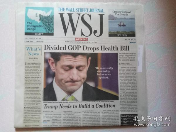 THE WALL STREET JOURNAL 华尔街日报周末版 WSJ 2017/03/25-26  外文原版报纸