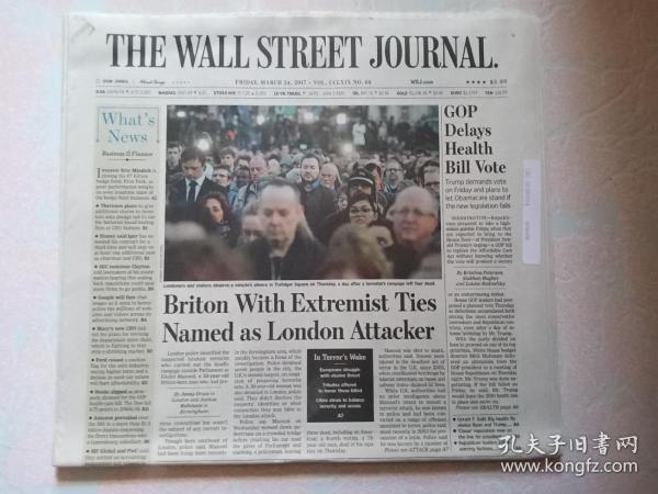 THE WALL STREET JOURNAL 华尔街日报 2017/03/24  外文原版报纸 装饰道具