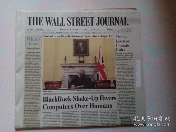 THE WALL STREET JOURNAL 华尔街日报 2017/03/29  外文原版报纸 装饰道具