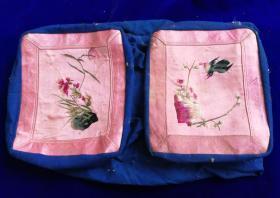 特价民国绣工特别精美漂亮花鸟图枕顶一对刺绣绣片绣品包老