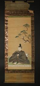 【日本回流】原装旧裱 水墨人物《天神官》一幅(纸本立轴,画心约3.6平尺)HXTX179696