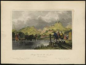 英国1845年中华帝国图景古董手工上色铜版画 水稻种植
