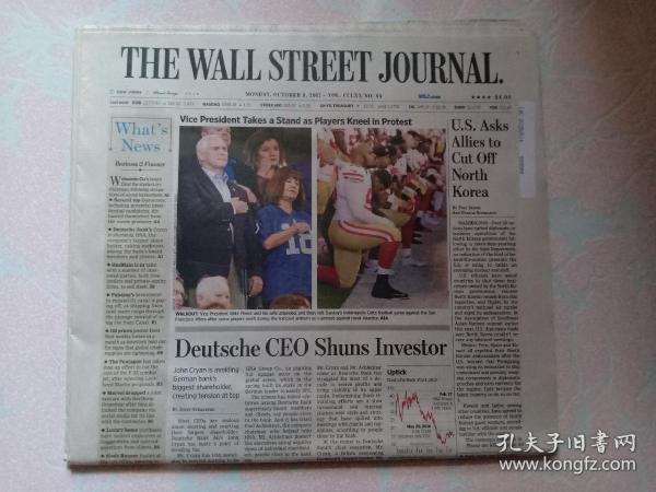 THE WALL STREET JOURNAL 华尔街日报 2017/10/09  外文原版报纸 装饰道具