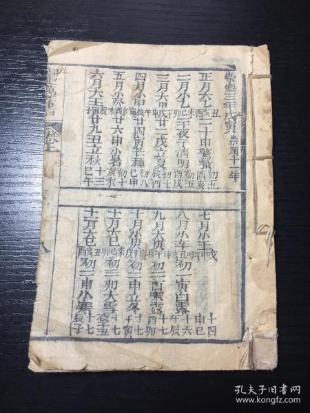 清木刻本 《御定万年书》(万年历、皇历)卷上残本一册,崇德三年(明崇祯十一年)至雍正九年