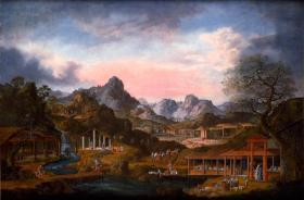 《19世纪水粉画中国贸易》(1825年水粉画的中国商品贸易状况),全46幅,是这一组各自独立的水粉画。描绘的大约是1825年西方与中国贸易者往来到达广州观察到的当地手工业及商贸状况。本店销售的为仿古高档道林纸原色原貌原大复制本